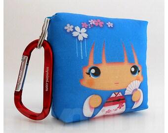 Toy Keychain, Girls Pillow, Geisha Pillow, Blue Pillow, Kawaii Pillow, Kawaii Toy, Soft Toy, Kawaii Print, Japanese