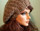 Slouchy Knit Hat, Brown Tweed Beret, Knit Tam Beanie