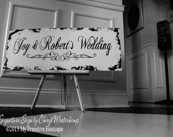 WELCOME WEDDING SIGN / Name Sign / Welcome Sign / Wedding Signs / Mr and Mrs Signs / Vintage Inspired Wedding Sign / Shabby Chic Sign