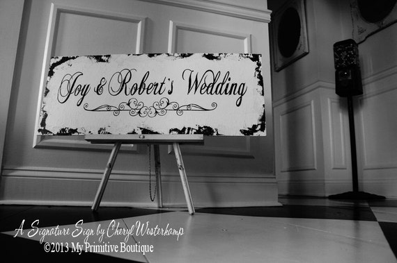 CUSTOM NAME SIGN | Wedding Sign | Wedding Day Sign | Established Sign | Cottage Sign | Shabby Chic Sign | Distressed Sign | Wedding Decor