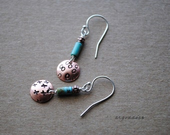 HUGS and KISSES sterling silver and turquoise and copper earrings by srgoddess