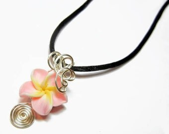 Made to Order - Design 13 - Aromatherapy Wire Wrapped  Polymer Clay Tropical Flower Bead PERFUME Pendant