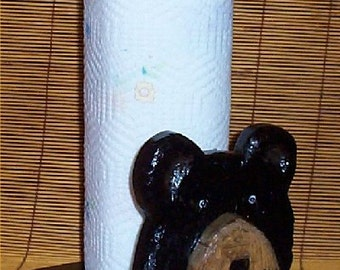Black Bear Paper Towel Holder Cabin Lodge Kitchen Decor Handcarved