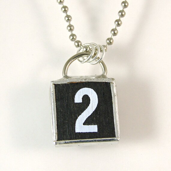 number 2 pendant necklace by xohandworks on etsy