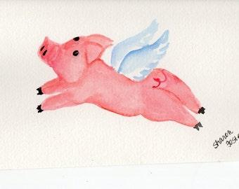 Flying Pig watercolor painting original, 4 x 6,  pig painting, pigs with wings, When Pigs fly watercolor. Flying Pigs art