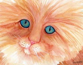 Cat watercolor painting original,  cat artwork, Long haired Orange cat painting, Cat portrait, small cat painting, cat decor, watercolor