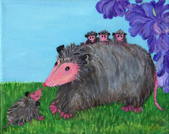 Possum Painting, canvas art Mama Giving Baby Possums a Ride with a latecomer, Wisteria, Opossum Art, Original Acrylic Painting Canvas
