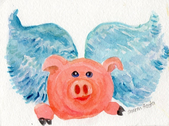 piggy flying by sharon foster art on etsy watercolor artist