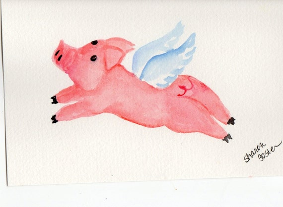 ... pig painting, pigs with wings, When Pigs fly watercolor. Flying Pigs