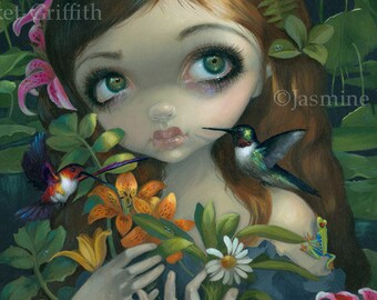 Wildwood Bouquet hummingbird lily fairy art print by Jasmine Becket-Griffith 8x10 flowers nymph