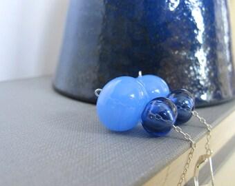 Blown Glass Earrings, Blue Glass, Sapphire Blue, Chalcedony Blue, Blue Hollow Glass, Silver Earrings, Glass Jewelry,