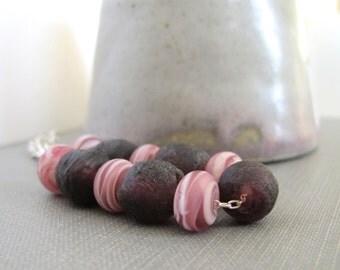 Glass Bracelet, Pink Glass, Silver Bracelet, Lampwork Glass, Purple Glass, Recycled Glass, Silver Jewelry, Glass Jewelry