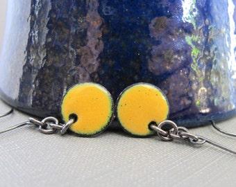 Yellow Earrings, Enameled Earrings, Dandelion Yellow, Enameled Copper, Round  Circles, Yellow Dots, Silver Earrings, Geometric Jewelry,