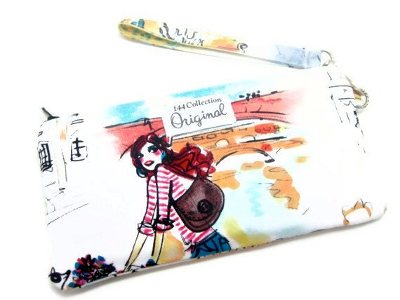 Wristlet Wallet - Ragazze e Ragazzi French Cafe Wristlet Wallet