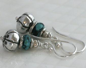 Turquoise Sterling Silver Hill Tribe Fine Silver Dangle Drop Earrings // luluglitterbug