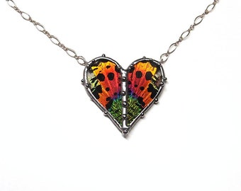Valentine's Day Jewelry - Real Sunset Moth Heart Necklace
