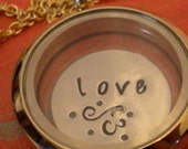 FLOATING WAFER - Love Flourish - 1 hand-stamped disc - fits glass memory lockets - similar to Origami Owl plates
