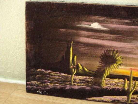 Vintage 1970s Black Velvet Painting Desert Landscape 2013179