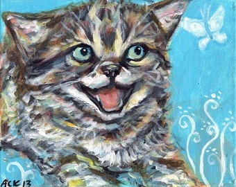A laughing kitten butterfly original cat painting