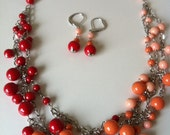 Gypsy Statement Ombre Necklace and Earring set