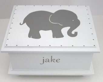 Grey Gray Elephant Baby Keepsake Memory Box personalized baby gift hand painted