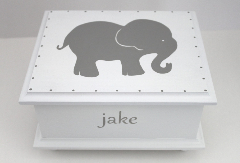 baby keepsake box grey gray elephant baby keepsake memory. Black Bedroom Furniture Sets. Home Design Ideas