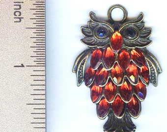 Glowing Antique Bronze and Red Rhinestone Owl Pendant 1 3/4""