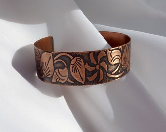 Copper Cuff - Gentle Leaves - Ladies M  Bracelet