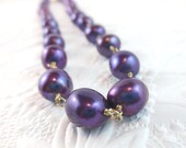 Baroque Pearl Necklace in Purple and Gold