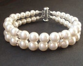 Classic Bridal Wedding Bracelet, Double Strand Pearl & Rhinestone Wedding Cuff, Simple Pearl Bridal Bracelet, Wedding Bridal Jewelry, GRACE
