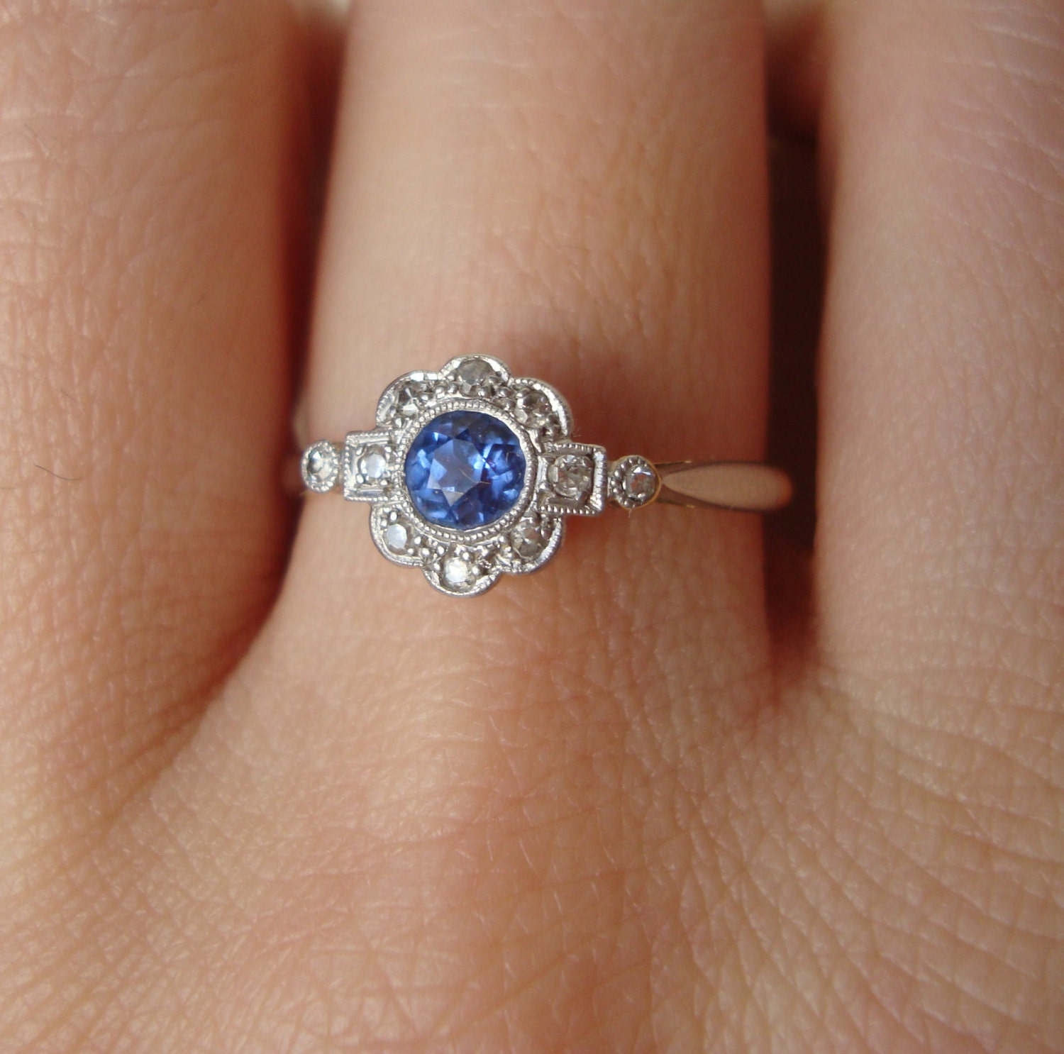 art deco cornflower blue sapphire diamond engagement ring. Black Bedroom Furniture Sets. Home Design Ideas