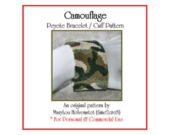 Peyote Pattern ... CAMOUFLAGE ... Bracelet Pattern . Camo . Military . Army . Olive . Abstract . Mottled . PDF . Traditional . 3 for 2