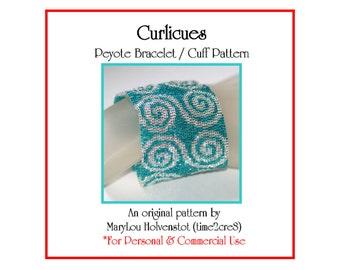 Peyote Pattern ... CURLICUES ... Bracelet Pattern . Bonus Pattern . Whimsical . Fun . Swirly . Wide . Bold . Spirals . Swirls . 3 for 2
