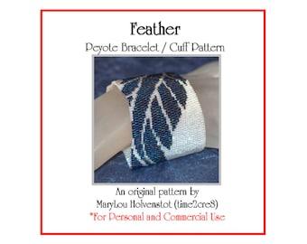 Peyote Bracelet Pattern ... FEATHER ... Modern . Simple . Bold . Wide . Graphic . Stylized . Bird . Avian . Make It Yourself . 3 for 2