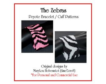 Peyote Bracelet Pattern ... ZEBRA ... Stripes . Bold . Bonus Pattern . Wild Animal . Africa . Classic Design . Fashion . 3 for 2