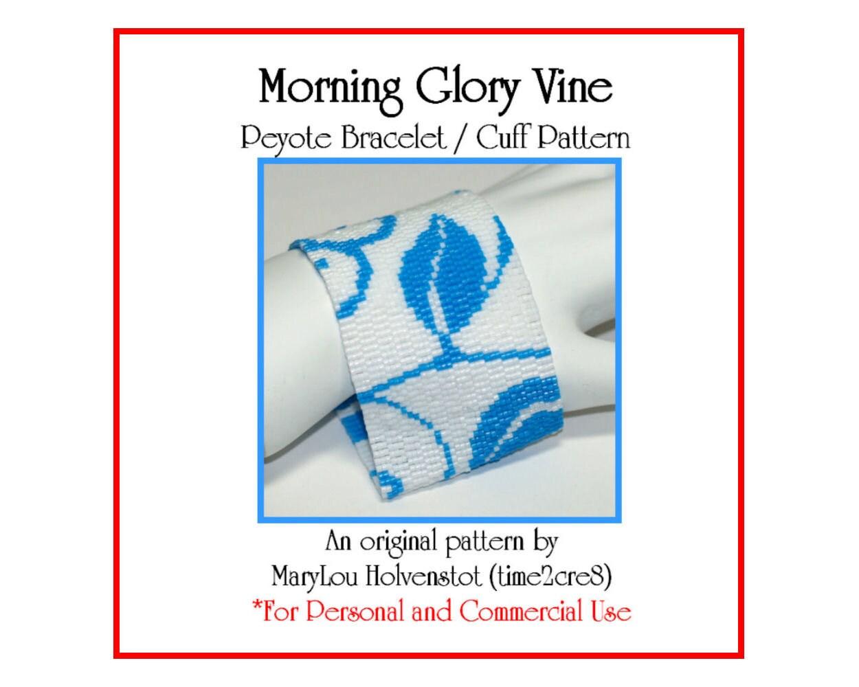 Peyote Bracelet Pattern MORNING GLORY Vine Wide Cuff