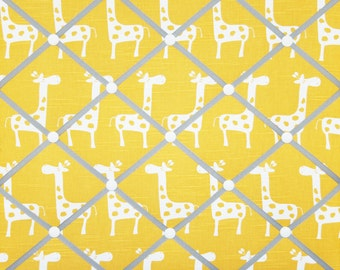 Yellow Gray White Giraffe French Ribbon Memo Board