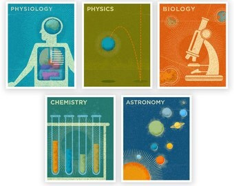 "Art for Girls Room Art for Boys Room- Science Theme Prints Set of 5-  8"" x 10"" Retro Science Art Prints for Boys Room- Prints Kids- Girl Art"