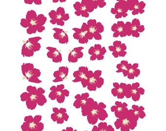 Dark Pink Cherry Blossoms Vinyl Decal Set 41 Blossoms