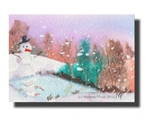 ACEO Snowman Snow Winter Ice Christmas ORIGINAL watercolor painting optional mat
