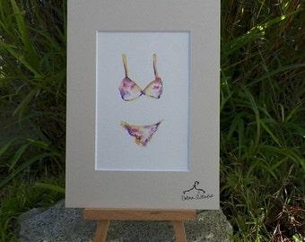 In My Closet Series Lingerie Flowers Womens Sheer Watercolor Fashion Art Original Painting by California Artist debra alouise