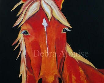 Original Oil Painting Standing Quiet Horse Original Oil Painting 9 x 12 by Artist debra alouise