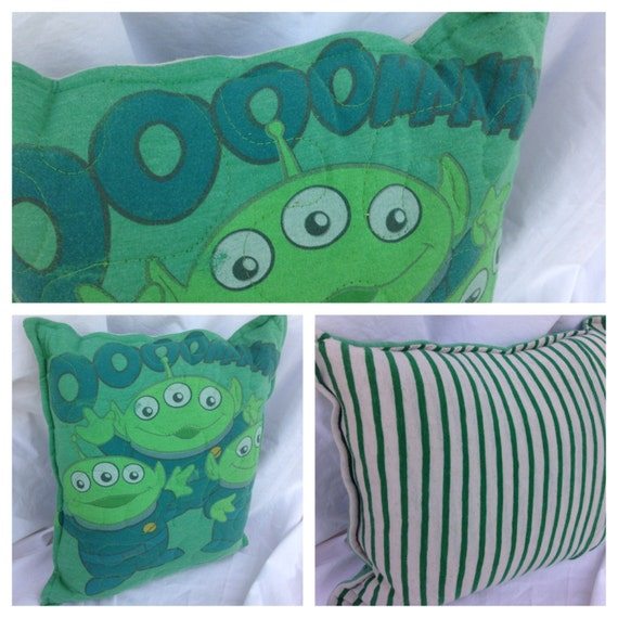 Toy Story Aliens Pillow Throw PillowUpcycled Eco by whimsiedots