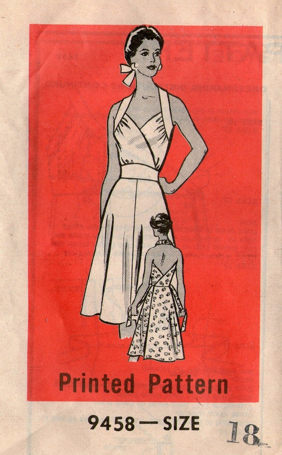 Vintage Halter Top Wrap Dress Sewing Pattern