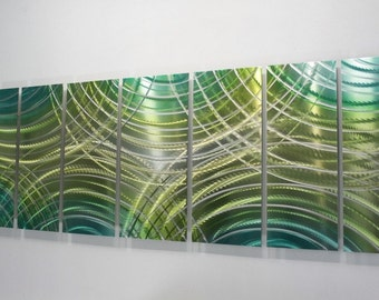Green Abstact Metal Painting - Modern Metal Wall Art - Home Decor - Accent - Wall Hanging - Painted Artwork - Ready To Go by Jon Allen