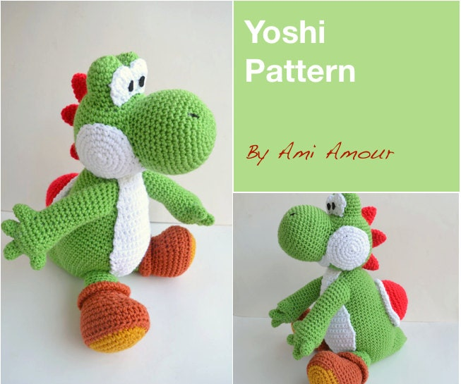 Yoshi pattern amigurumi crochet pdf from amiamour on etsy for Yoshi plush template