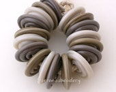 DUSKY GREY TRIO Wavy Disk Set - khaki, sediment, and adamanitum - Lampwork Glass Beads - taneres