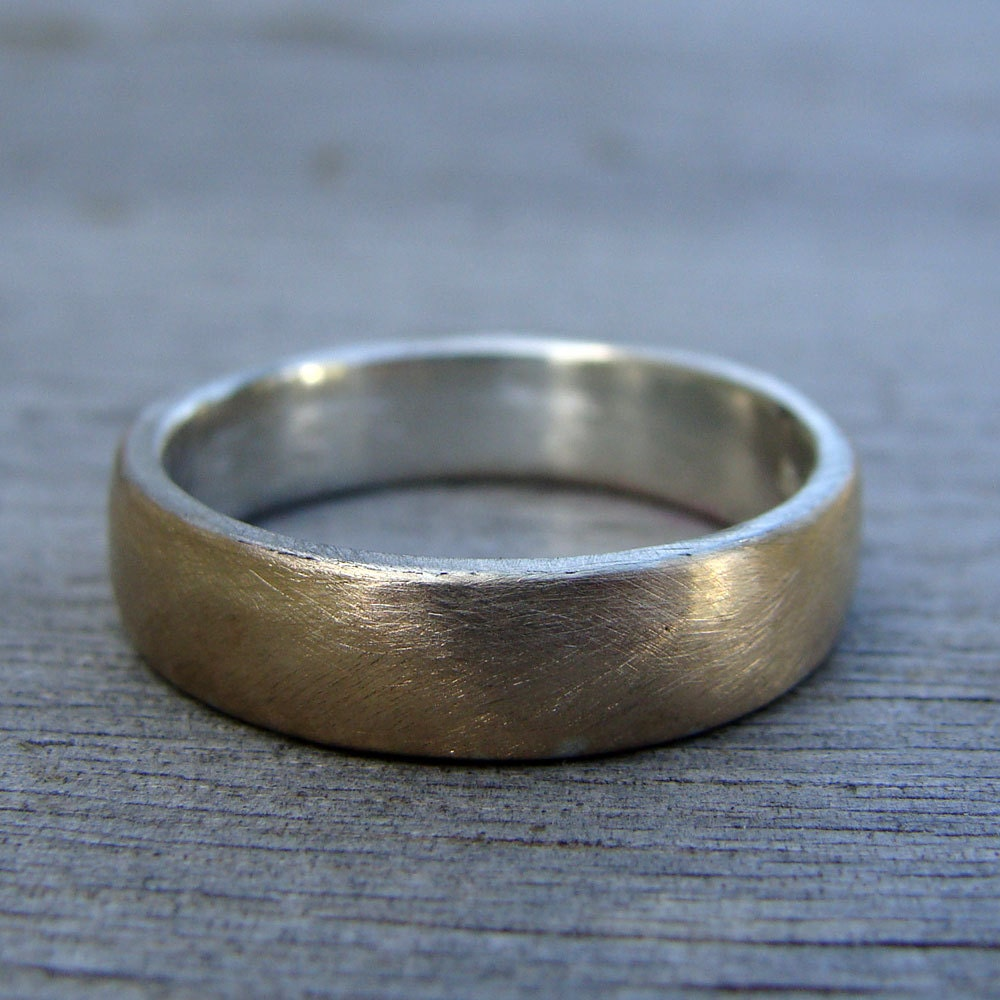 Affordable Layered Wedding Band Eco Friendly Recycled 14k