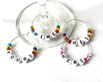 Custom, Personalized, Wine Charms. Your name, word, or date up to 7 letters. Set of 4 thru 12. You choose the color too