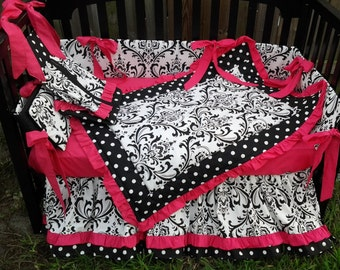 New 7 piece black white polka  DOT, DAMASK & hot PINK Crib Bedding Set 7 pieces Custom Made To Order